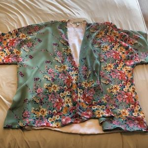 Lovers and Friends Green Floral Kimono XS